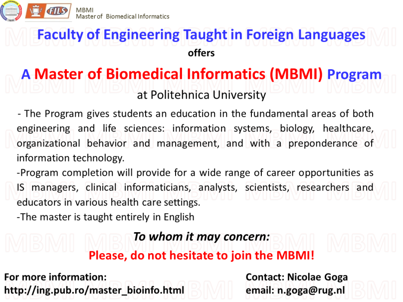 Master of Biomedical Informatics